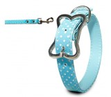 .Collar Polka Azul Para Perros