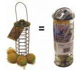 Alimentador do pássaro por bolas de gordura